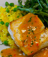 KATZ Grilled Halibut w/Fennel And Saffron Dressing